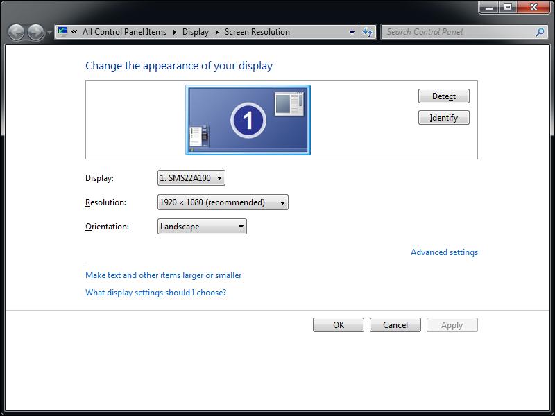 Screen resolution settings for NeuroEyeCoach